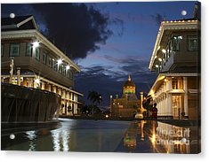 Acrylic Print featuring the pyrography Twilight In Brunei  by Gary Bridger