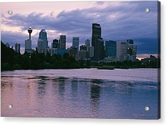 Twilight On The Bow River And Calgary Acrylic Print by Michael S. Lewis