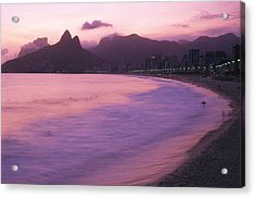 Twilight View Of Ipanema Beach And Two Acrylic Print by Michael Melford