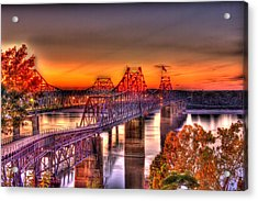 Acrylic Print featuring the photograph Twin Bridge At Sunset-hdr by Barry Jones