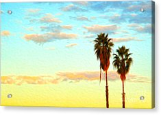 Acrylic Print featuring the painting Twin Palms by Gregory Dyer