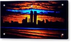 Twin Towers In Black Light Acrylic Print by Thomas Kolendra