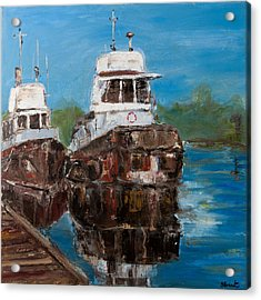 Twin Tugs Acrylic Print by Sophie Brunet