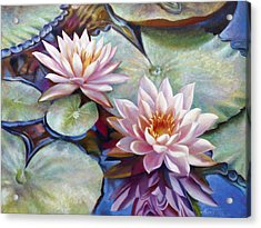 Twin Water Lilies And Reflection Acrylic Print by Nancy Tilles