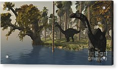 Two Apatosaurus Dinosaurs Visit An Acrylic Print