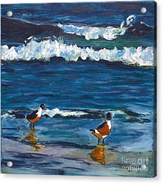 Acrylic Print featuring the painting Two Birds With Waves by Jeanne Forsythe