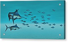 Acrylic Print featuring the digital art Two Blue Marlin by Walter Colvin