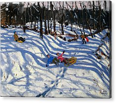 Two Boys Falling Off A Sledge Acrylic Print by Andrew Macara