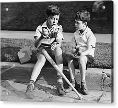 Two Boys Playing Baseball Acrylic Print by George Marks