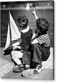 Two Boys Playing W/sailboats Acrylic Print by George Marks