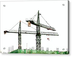 Two Cranes On A Construction Site Acrylic Print by Yali Shi