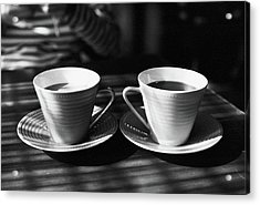 Two Cups Of Coffee In Sunlight Acrylic Print by Breeze.kaze