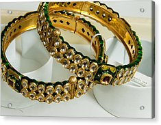 Two Green And Gold Bangles On Top Of Each Other Acrylic Print by Ashish Agarwal