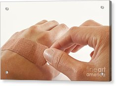 Two Hands With Bandage Acrylic Print by Blink Images