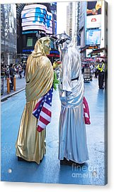 Two In Time Square Acrylic Print by Ed Rooney