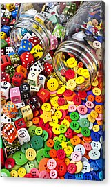 Two Jars Dice And Buttons Acrylic Print by Garry Gay