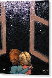 Two Kids Stargazing Acrylic Print