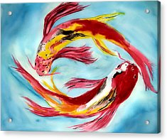 Acrylic Print featuring the painting Two Koi For Words by Alethea McKee