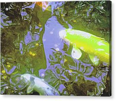 Two Koi In Water Garden Acrylic Print by Jerry Grissom