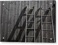 Two Ladders Leaning Against A Wooden Wall Acrylic Print by Meera Lee Sethi