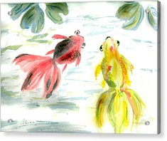 Two Little Fishes Acrylic Print by Alethea McKee