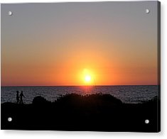 Two Lovers Sunset Beach Walk Acrylic Print