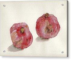 Two Pomegranates  Acrylic Print by Annemeet Hasidi- van der Leij