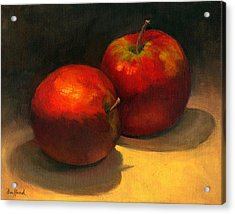 Acrylic Print featuring the painting Two Red Apples by Vikki Bouffard