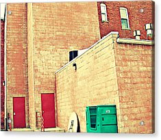 Two Red Doors - Two Little Windows Acrylic Print by MJ Olsen