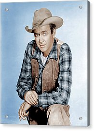 Two Rode Together,  James Stewart, 1961 Acrylic Print by Everett