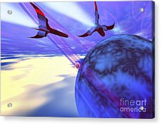 Two Spacecraft Fly Back To Their Home Acrylic Print by Corey Ford