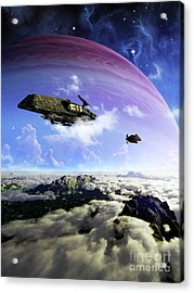 Two Spacecraft Prepare To Depart Acrylic Print by Brian Christensen