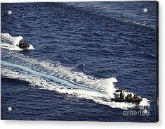 Two Spanish Navy Ridged-hull Inflatable Acrylic Print by Stocktrek Images