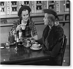 Two Women At Restaurant Acrylic Print by George Marks