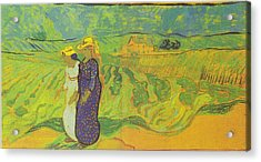Two Women Crossing The Fields Acrylic Print by Vincent Van Gogh