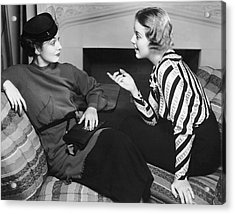 Two Women In Casual Conversation Acrylic Print by George Marks