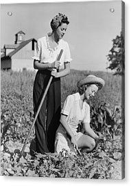 Two Women Working On Field, (b&w) Acrylic Print by George Marks