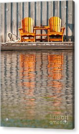 Acrylic Print featuring the photograph Two Wooden Chairs by Les Palenik