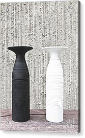 twoWhite and black vases Acrylic Print by Chavalit Kamolthamanon