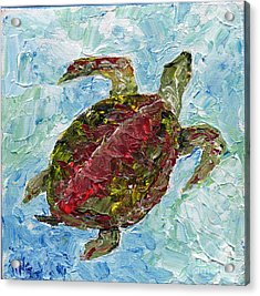 Acrylic Print featuring the painting Tybee Turtle Swimming by Doris Blessington