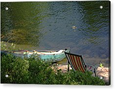 Typical Canoe And Chair Acrylic Print by Carolyn Reinhart