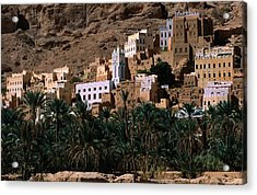Typical Hadramawt Village With Date Plantation In Foreground, Wadi Daw'an, Yemen Acrylic Print by Frances Linzee Gordon