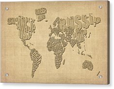 Typographic Text Map Of The World Acrylic Print by Michael Tompsett