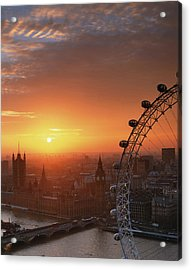 Uk, London, Millennium Wheel And Cityscape, Sunset, Elevated View Acrylic Print by Travelpix Ltd