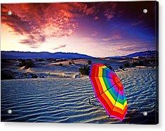 Umbrella On Desert Sands Acrylic Print by Garry Gay