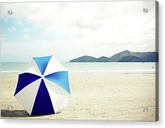 Umbrella On Sand Acrylic Print