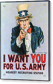 Uncle Sam I Want You Army Recruitment Acrylic Print by Everett
