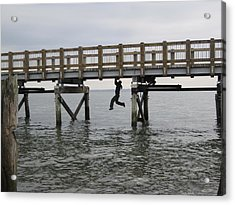 Under The Boardwalk Acrylic Print by Karen Molenaar Terrell
