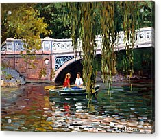 Under The Bow Bridge Central Park Acrylic Print by Roelof Rossouw