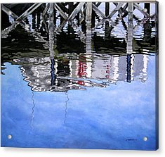Under The Dock Acrylic Print by Judy Burgarella